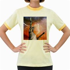 Statue Of Liberty New York Women s Fitted Ringer T Shirts