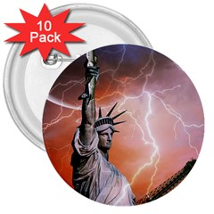 Statue Of Liberty New York 3  Buttons (10 Pack)