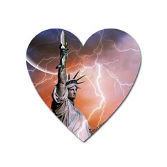Statue Of Liberty New York Heart Magnet