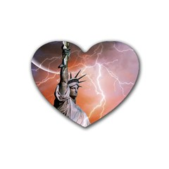 Statue Of Liberty New York Rubber Coaster (heart)