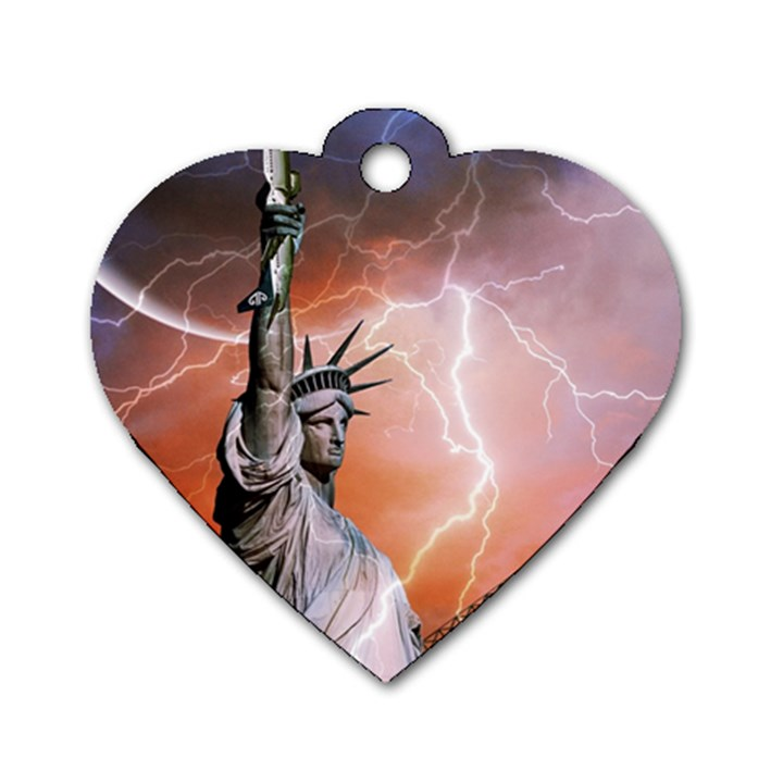 Statue Of Liberty New York Dog Tag Heart (One Side)