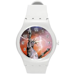 Statue Of Liberty New York Round Plastic Sport Watch (m)