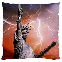 Statue Of Liberty New York Large Cushion Case (one Side)