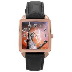 Statue Of Liberty New York Rose Gold Leather Watch