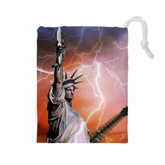 Statue Of Liberty New York Drawstring Pouches (large)