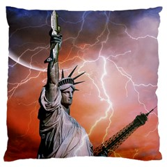 Statue Of Liberty New York Large Flano Cushion Case (two Sides)