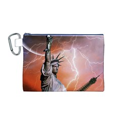 Statue Of Liberty New York Canvas Cosmetic Bag (m)