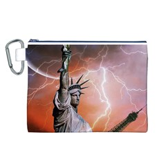 Statue Of Liberty New York Canvas Cosmetic Bag (l)