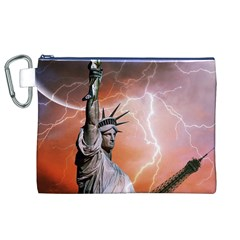 Statue Of Liberty New York Canvas Cosmetic Bag (xl)