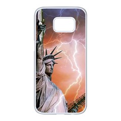 Statue Of Liberty New York Samsung Galaxy S7 Edge White Seamless Case
