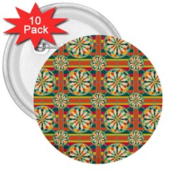Eye Catching Pattern 3  Buttons (10 Pack)