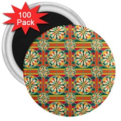 Eye Catching Pattern 3  Magnets (100 Pack)