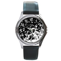 Black And White Splash Texture Round Metal Watch