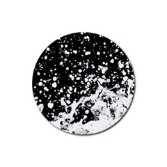 Black And White Splash Texture Rubber Round Coaster (4 Pack)