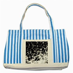 Black And White Splash Texture Striped Blue Tote Bag