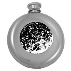 Black And White Splash Texture Round Hip Flask (5 Oz)