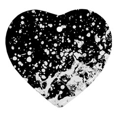 Black And White Splash Texture Heart Ornament (two Sides)