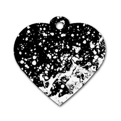 Black And White Splash Texture Dog Tag Heart (two Sides)