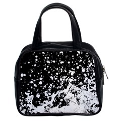 Black And White Splash Texture Classic Handbags (2 Sides)