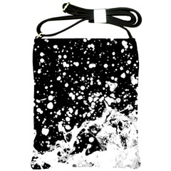 Black And White Splash Texture Shoulder Sling Bags