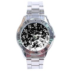 Black And White Splash Texture Stainless Steel Analogue Watch