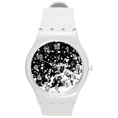 Black And White Splash Texture Round Plastic Sport Watch (m)