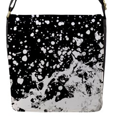Black And White Splash Texture Flap Messenger Bag (s)