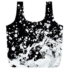 Black And White Splash Texture Full Print Recycle Bags (l)