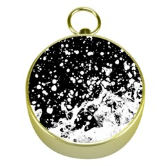 Black And White Splash Texture Gold Compasses