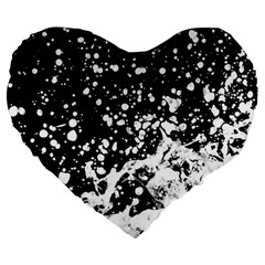 Black And White Splash Texture Large 19  Premium Flano Heart Shape Cushions
