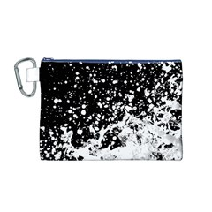 Black And White Splash Texture Canvas Cosmetic Bag (m)