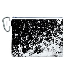 Black And White Splash Texture Canvas Cosmetic Bag (l)