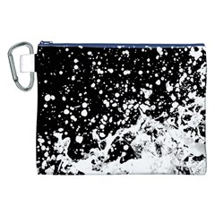 Black And White Splash Texture Canvas Cosmetic Bag (xxl)