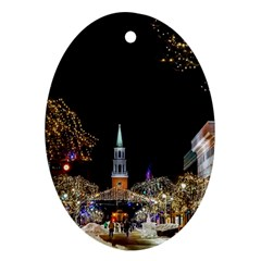 Church Decoration Night Oval Ornament (two Sides)