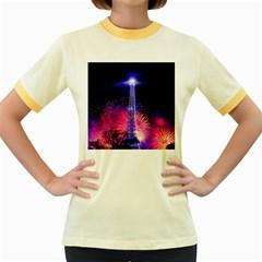 Paris France Eiffel Tower Landmark Women s Fitted Ringer T Shirts