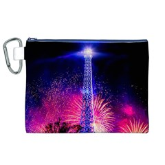 Paris France Eiffel Tower Landmark Canvas Cosmetic Bag (xl)
