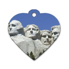 Mount Rushmore Monument Landmark Dog Tag Heart (two Sides)