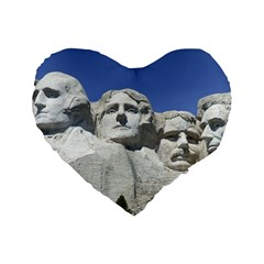 Mount Rushmore Monument Landmark Standard 16  Premium Heart Shape Cushions