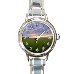 Landscape Sunset Sky Sun Alpha Round Italian Charm Watch