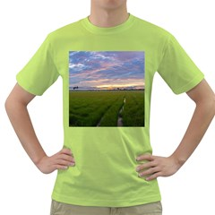 Landscape Sunset Sky Sun Alpha Green T Shirt