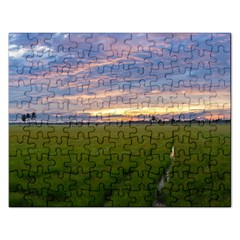 Landscape Sunset Sky Sun Alpha Rectangular Jigsaw Puzzl