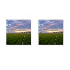 Landscape Sunset Sky Sun Alpha Cufflinks (square)