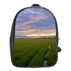 Landscape Sunset Sky Sun Alpha School Bag (large)