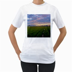 Landscape Sunset Sky Sun Alpha Women s T Shirt (white)
