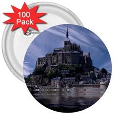Mont Saint Michel France Normandy 3  Buttons (100 Pack)
