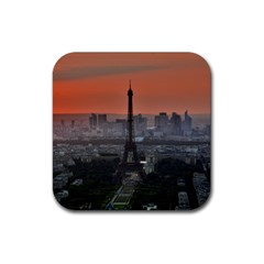 Paris France French Eiffel Tower Rubber Square Coaster (4 Pack)