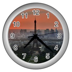 Paris France French Eiffel Tower Wall Clocks (silver)