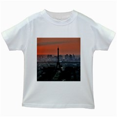 Paris France French Eiffel Tower Kids White T Shirts