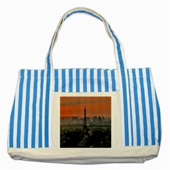 Paris France French Eiffel Tower Striped Blue Tote Bag