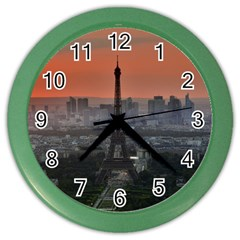 Paris France French Eiffel Tower Color Wall Clocks